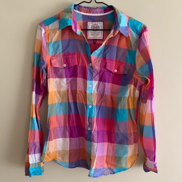 SO Other - Girls SO Perfect Vibrant Plaid Button-down Shirt